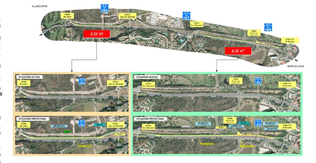 Fomento aprueba el expediente de información pública del proyecto de trazado para la mejora de los accesos a la A-7 en Marbella