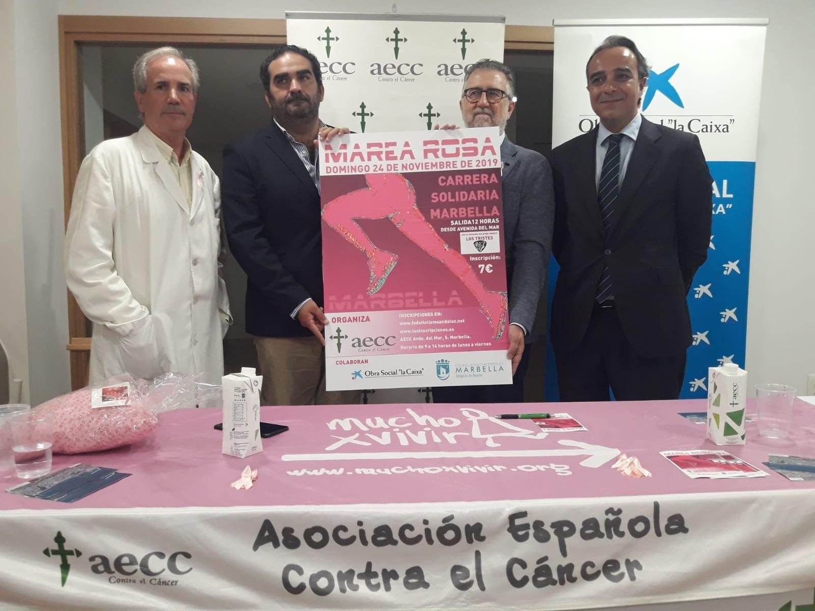 """AECC Marbella presenta la carrera """"Marea rosa"""" a beneficio de la lucha contra el cáncer de mama"""