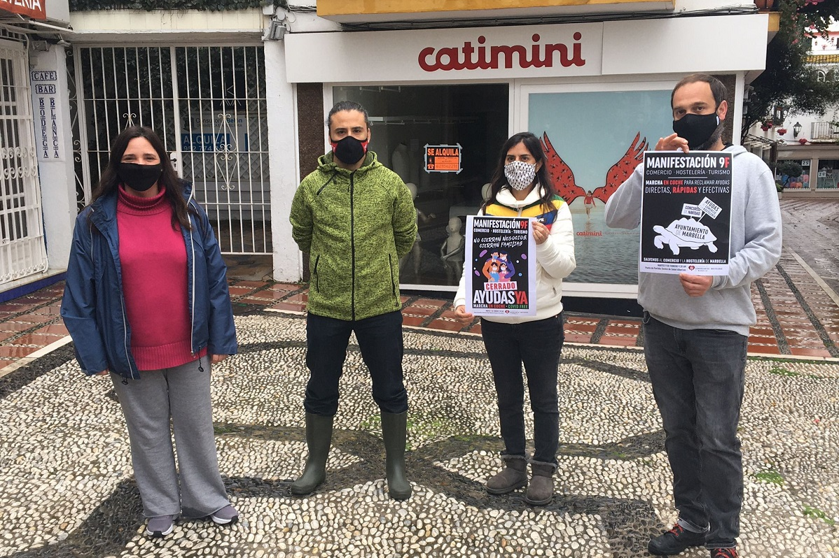 Manifestación 9F - Plataforma de Comerciantes y Hosteleros de Marbella