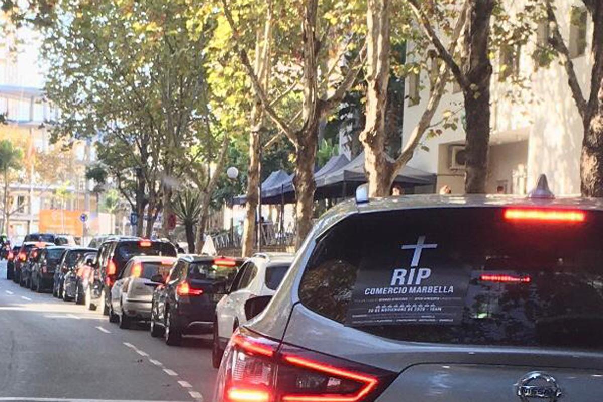 Manifestación mañana de comerciantes en Marbella