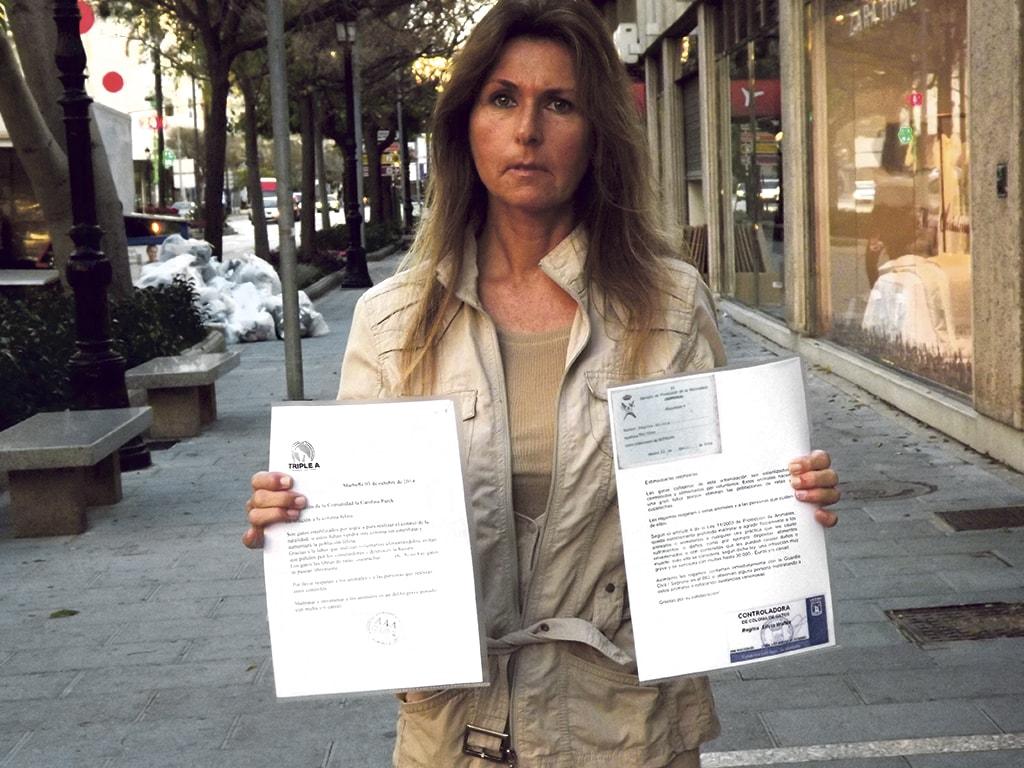 Regina Walther ha sido multada por poner carteles