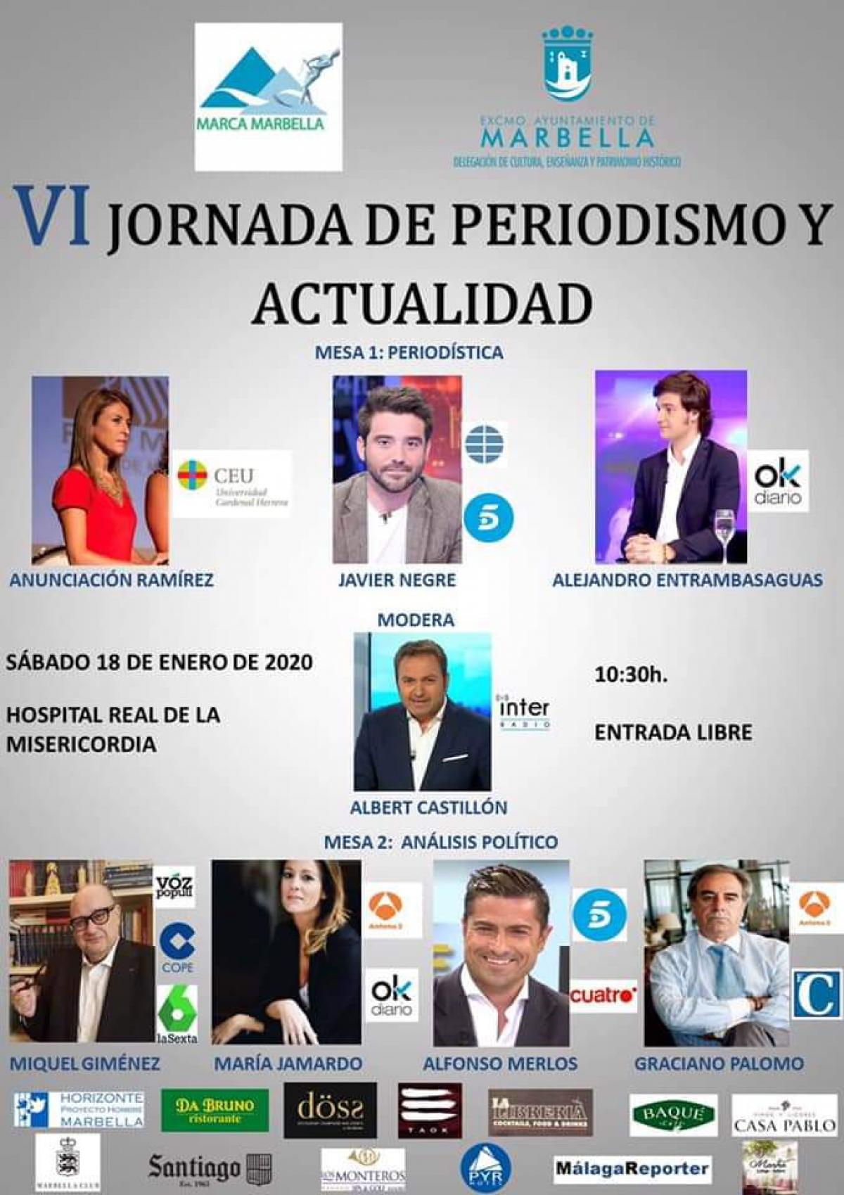 El próximo sábado 18 de enero tendrá lugar la VI Jornada de Periodismo y Actualidad